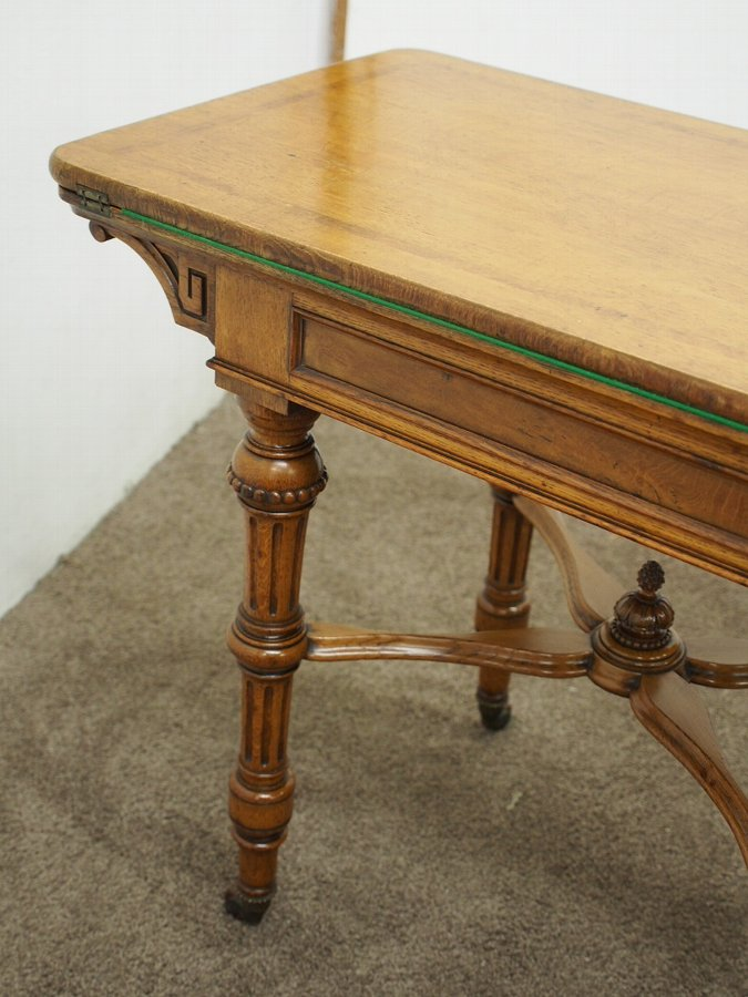 Antique Gillows Style Oak Foldover Card Table