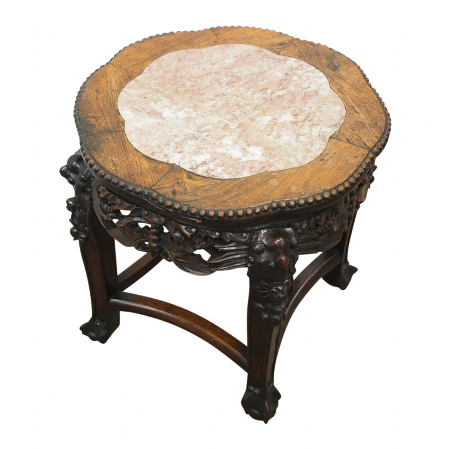 Chinese Petal Shaped Marble Top Plant Stand