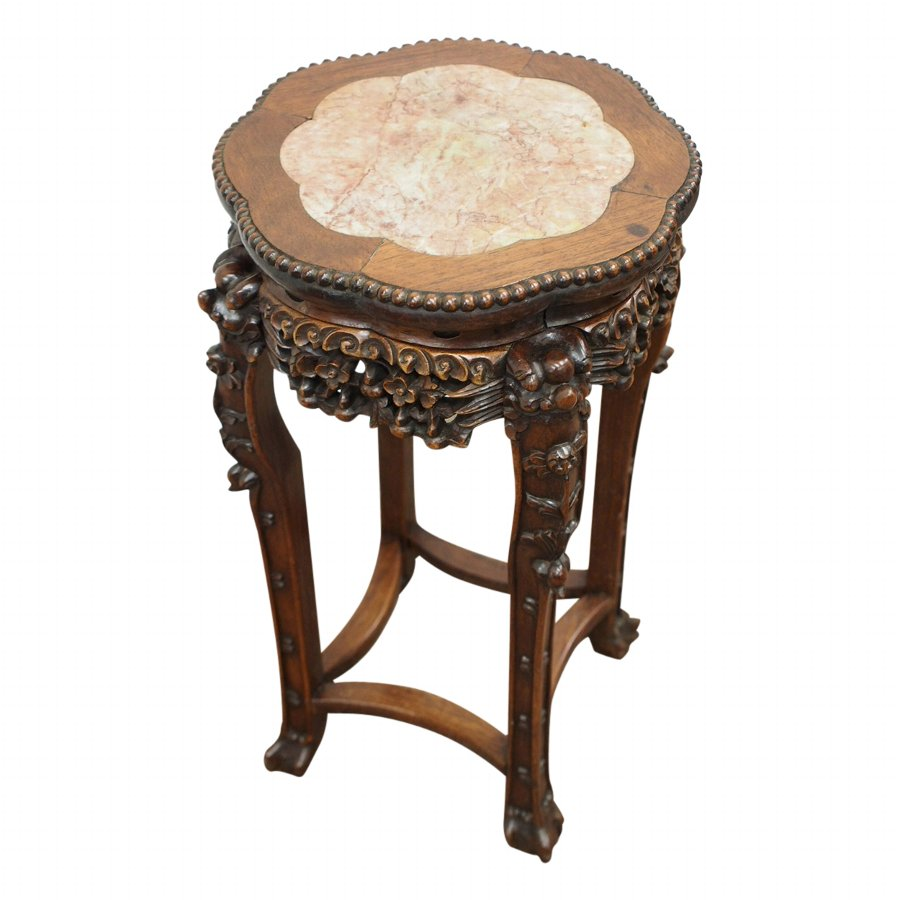Chinese Hongmu and Marble Top Plant Stand
