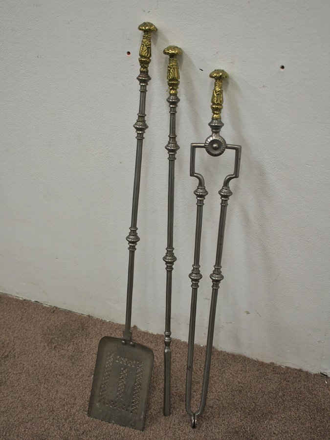 Antique Set of 3 George IV Steel and Brass Fireside Tools