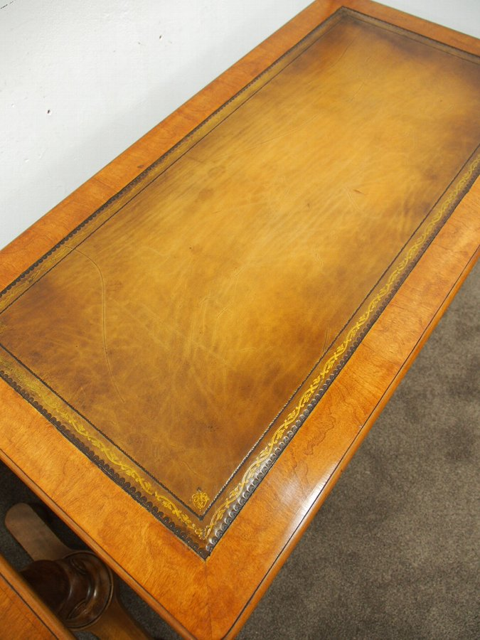 Antique Pair of Leather Top Satin Birch Library Tables