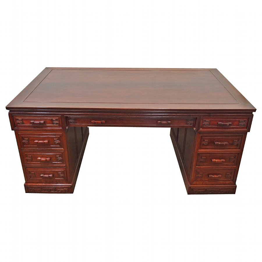 Large Chinese Hardwood Partners Desk