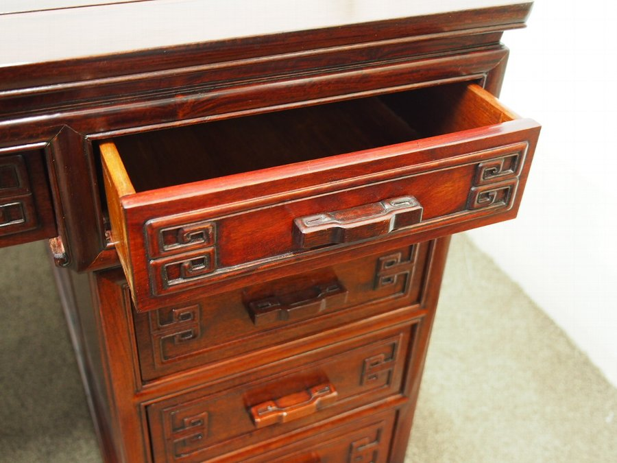 Antique Large Chinese Hardwood Partners Desk