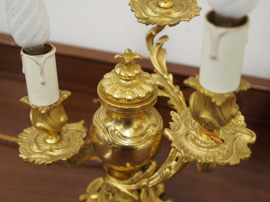 Antique Pair of Unusual Gilded Brass Table Top Candelabra