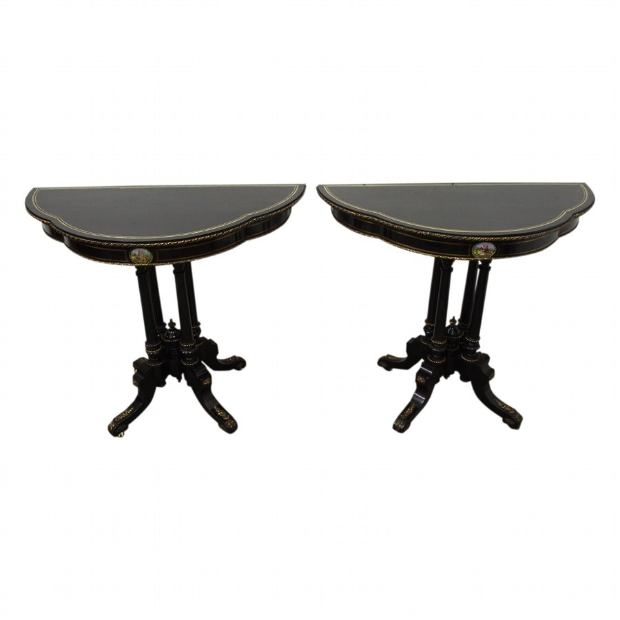 Pair of Brass Inlaid, Ebonised Side Tables