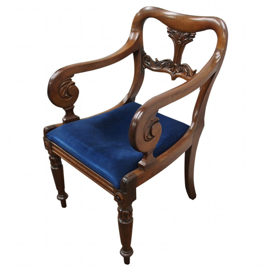 George IV Carved Mahogany Armchair