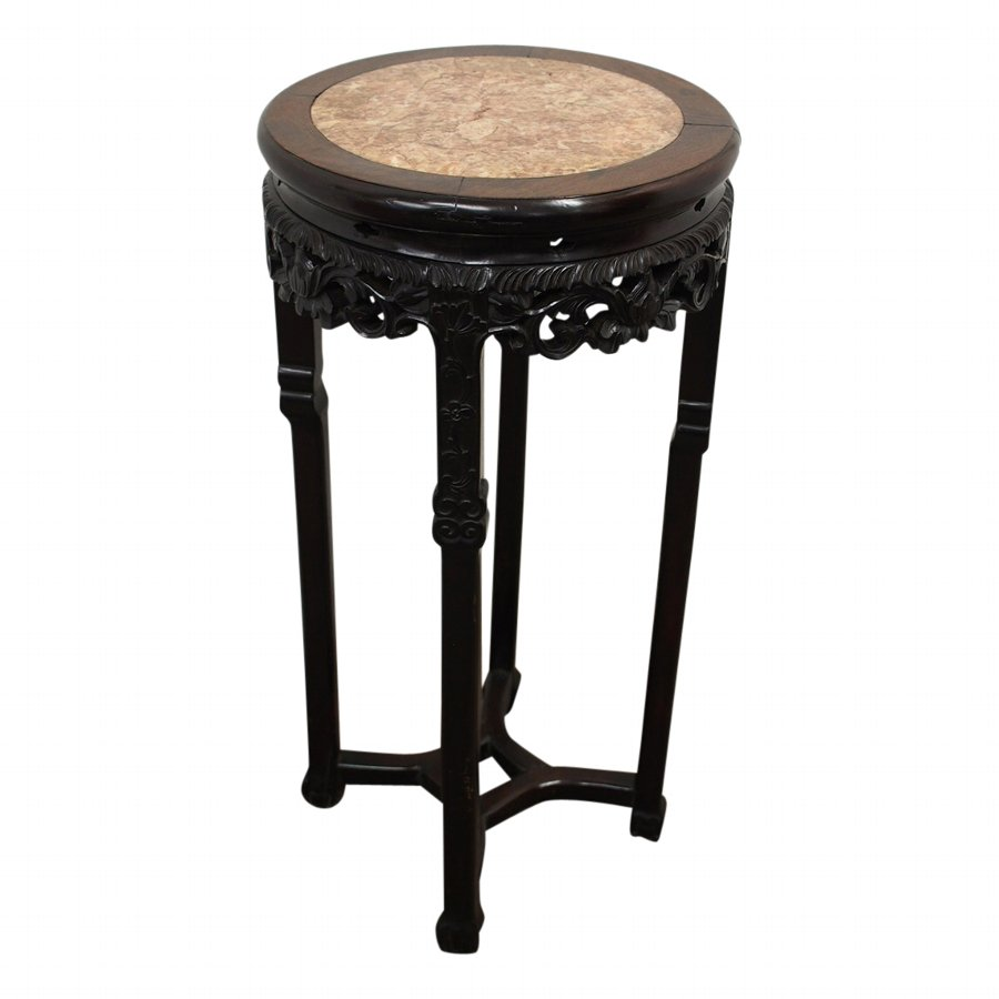Large Chinese Huanghuali Pedestal with Pink Marble Top