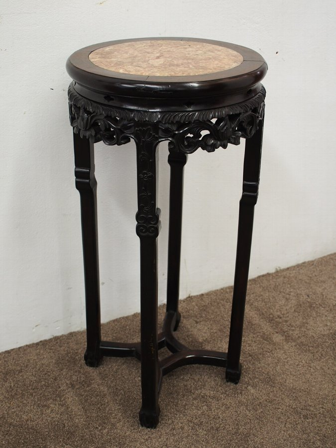 Antique Large Chinese Huanghuali Pedestal with Pink Marble Top