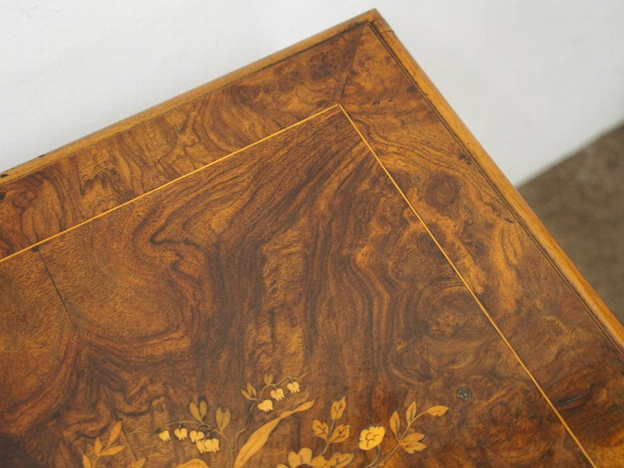 Antique French Marquetry Inlaid Burr Walnut Occasional Table