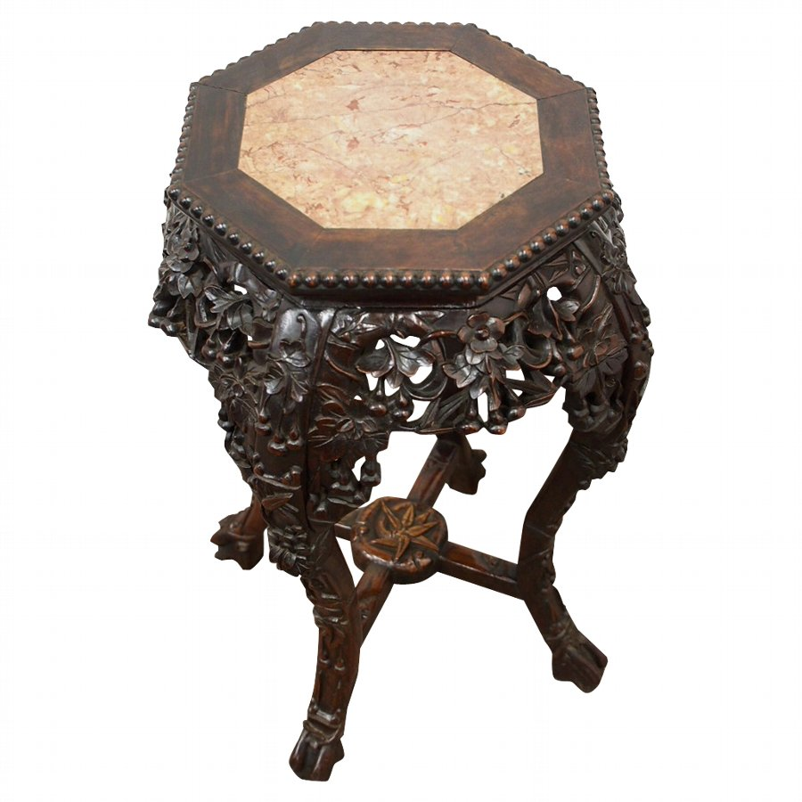 Chinese Darkwood Octagonal Stand