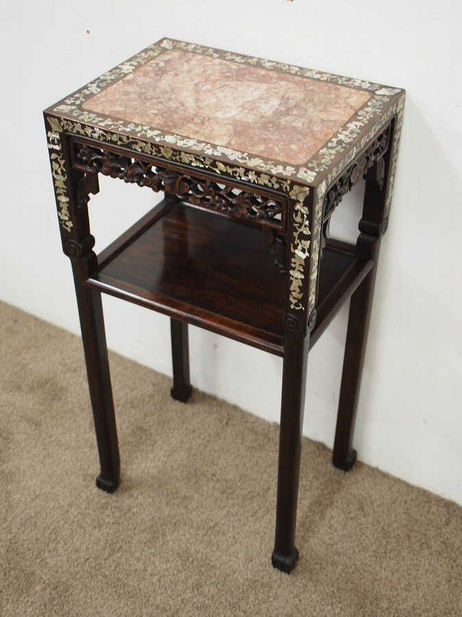 Antique Chinese Two Tiered Pink Variegated Marble and Hongmu Stand
