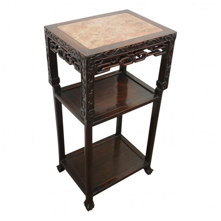 Chinese Three Tiered Stand with Pink Marble Top