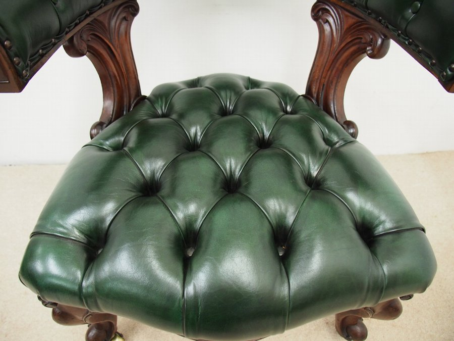 Antique William IV Green Leather Captains Chair