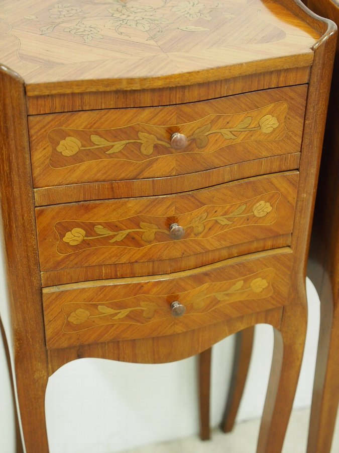 Antique Pair of French Marquetry Inlaid Kingwood Lockers