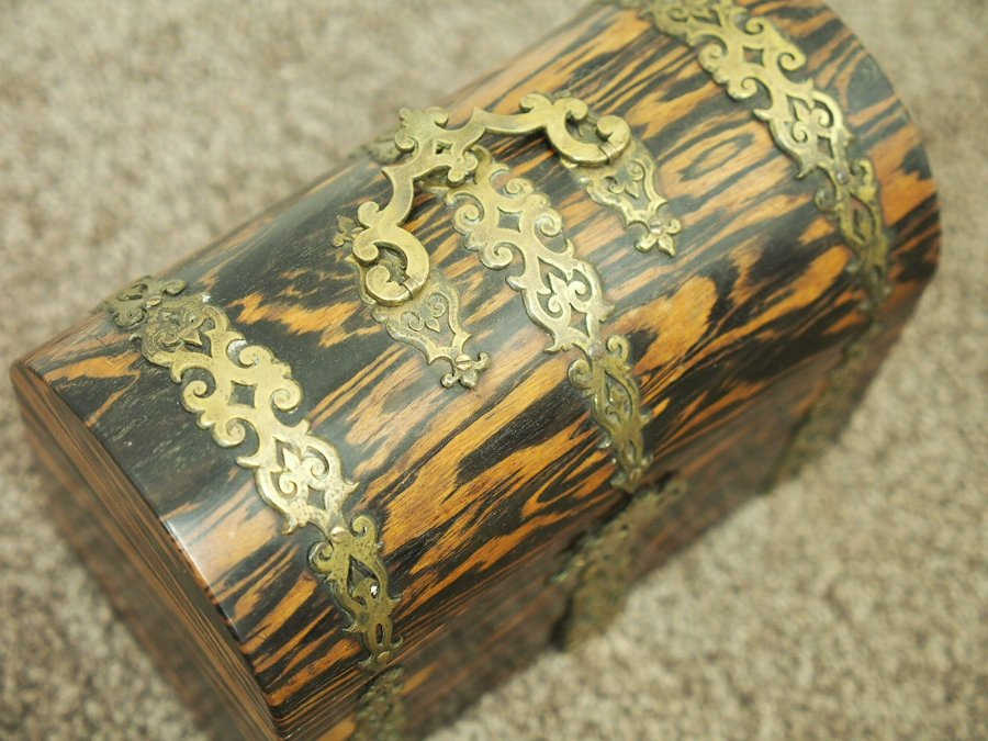 Antique Victorian Brass Mounted Coromandel Box