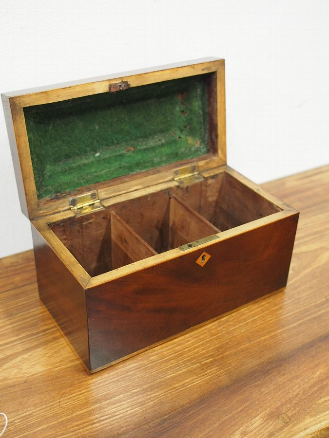 Antique George III Mahogany and Inlaid Tea Caddy