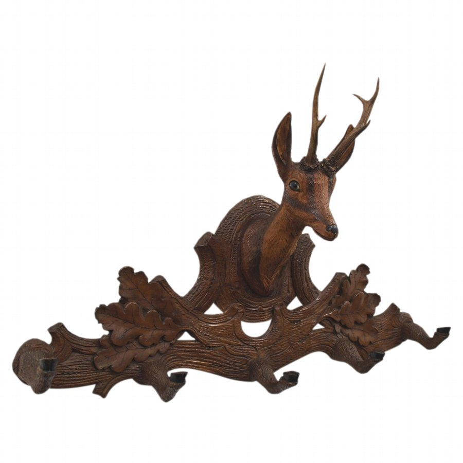 Black Forest Carved Deer Hat Stand