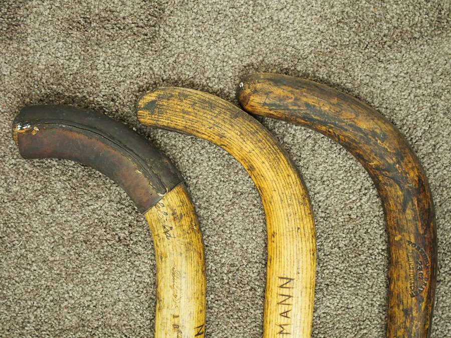 Antique Set of 3 Vintage Hockey Sticks