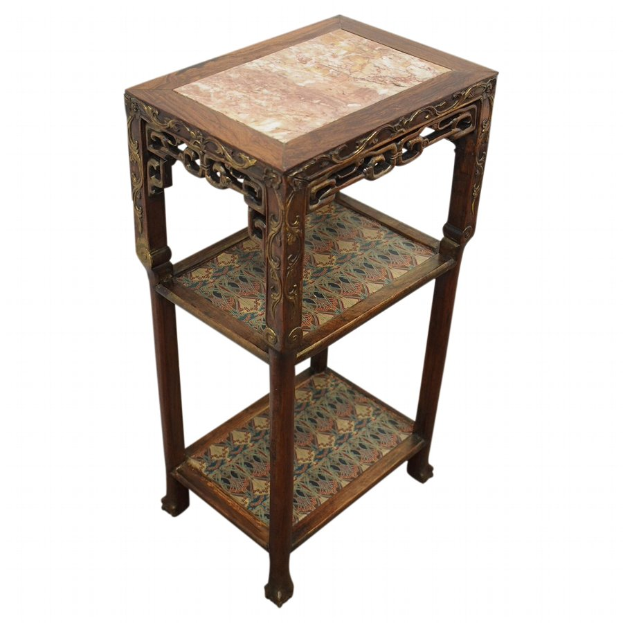 Carved Rosewood Chinese Three Tier Stand