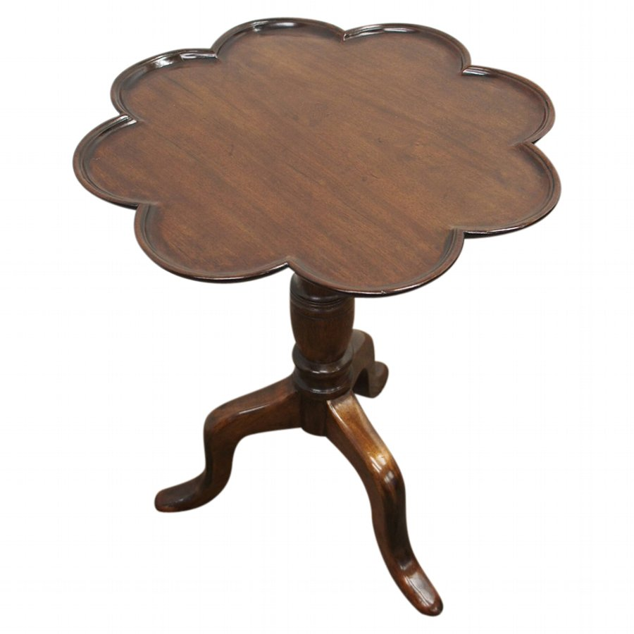 Georgian Style Occasional Table with Scalloped Top