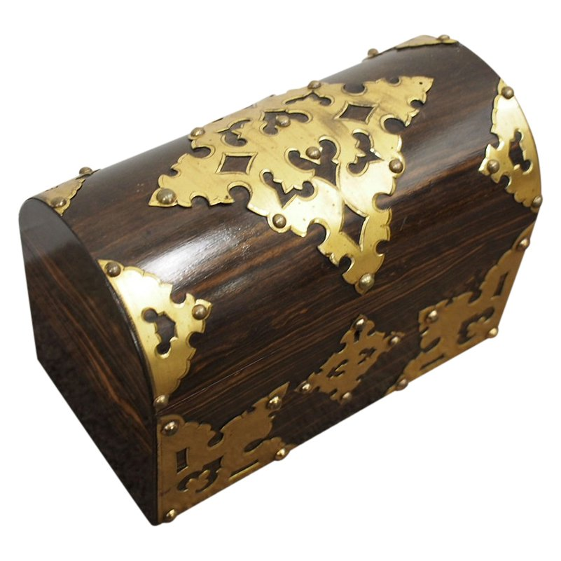 Dome Top Coromandel and Brass Stationary Box