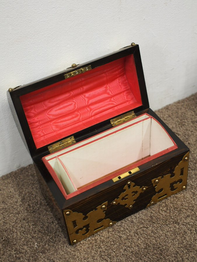 Antique Dome Top Coromandel and Brass Stationary Box