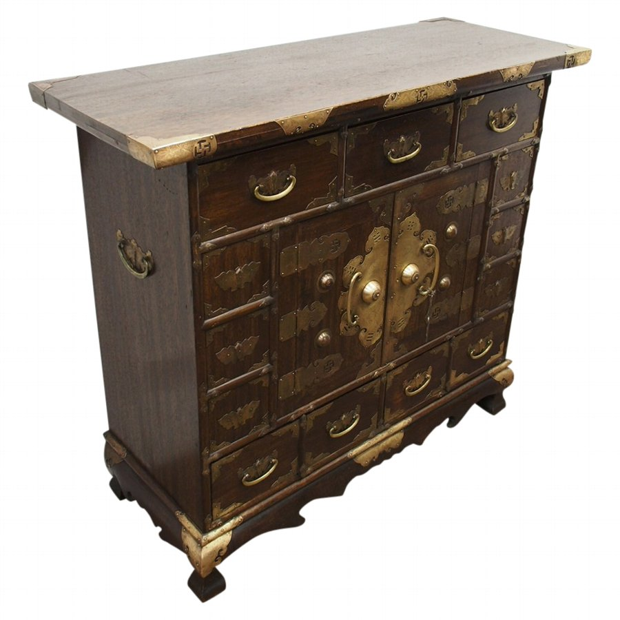 Antique Korean Wood And Brass Mounted Cabinet Antiques Co Uk