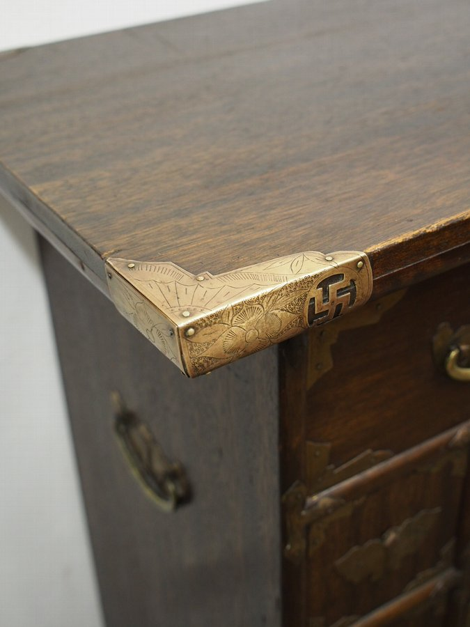 Antique Korean Wood and Brass Mounted Cabinet
