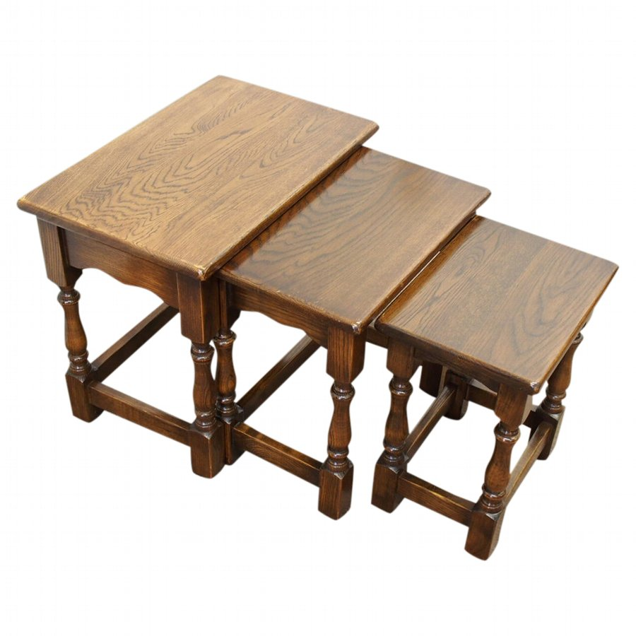 Nest of 3 Jacobean Style Oak Tables