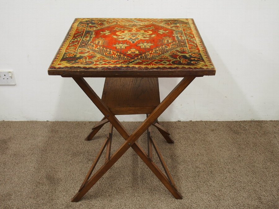 Antique Folding Bridge Table / Card Table with Carpet Top