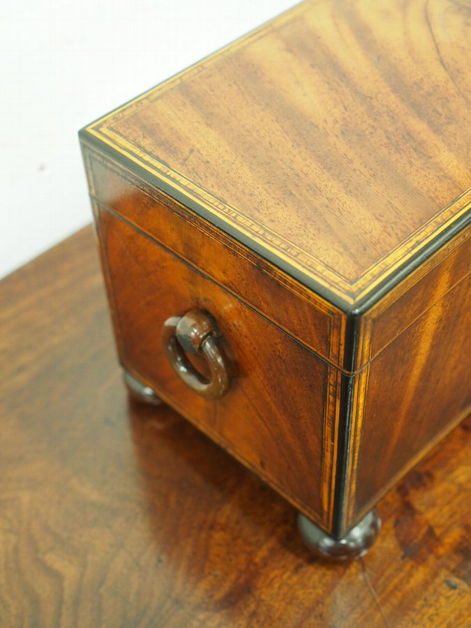 Antique George III Large Inlaid Mahogany Tea Caddy