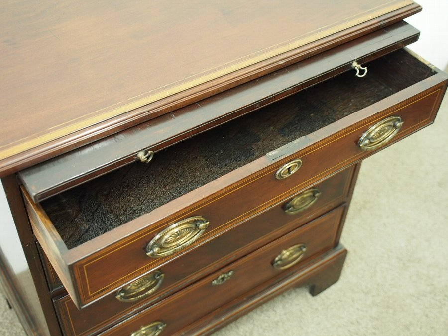 Antique Neat George III Inlaid Mahogany Chest of Drawers