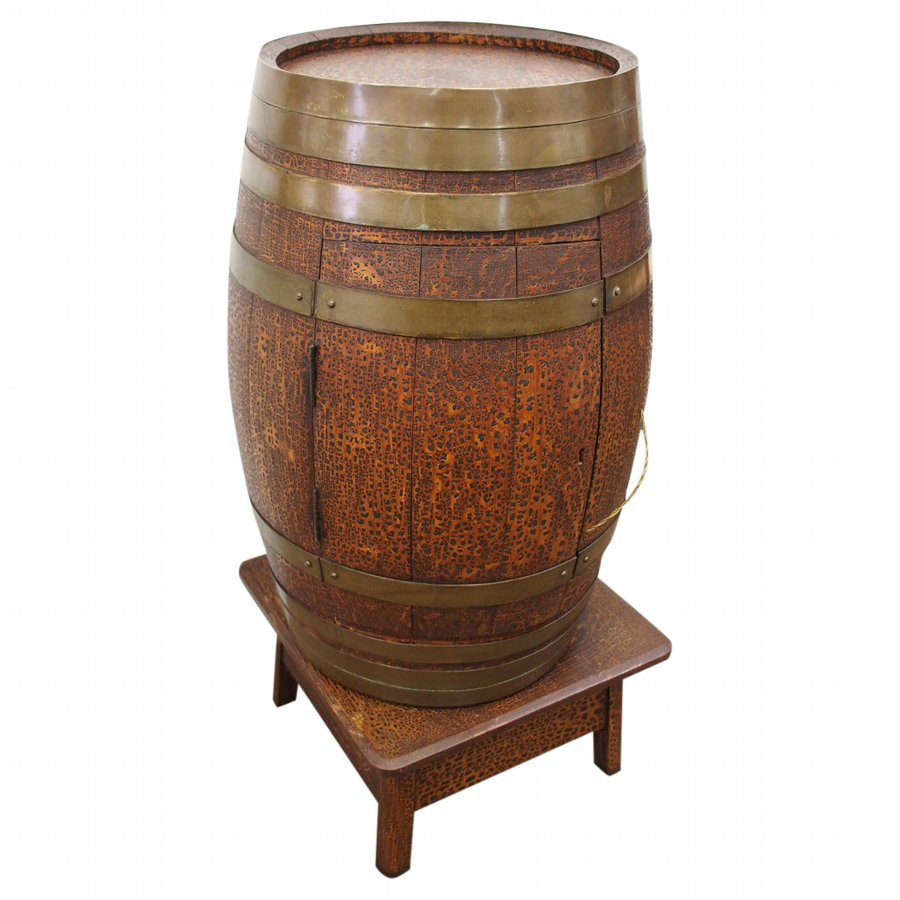 Brass Bound Oak Barrel Drinks Cabinet