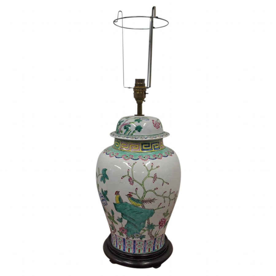 Chinese Famille Rose Baluster Lamp