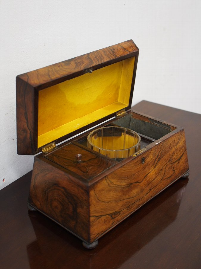 Antique Large William IV Rosewood Tea Caddy