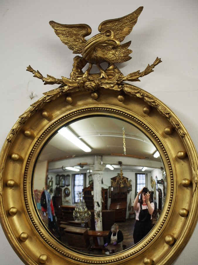 Antique Pair of Regency Style Gilded Convex Mirrors