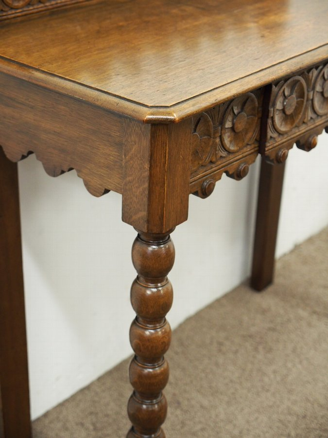 Antique Late Victorian Oak Hall Table / Serving Table