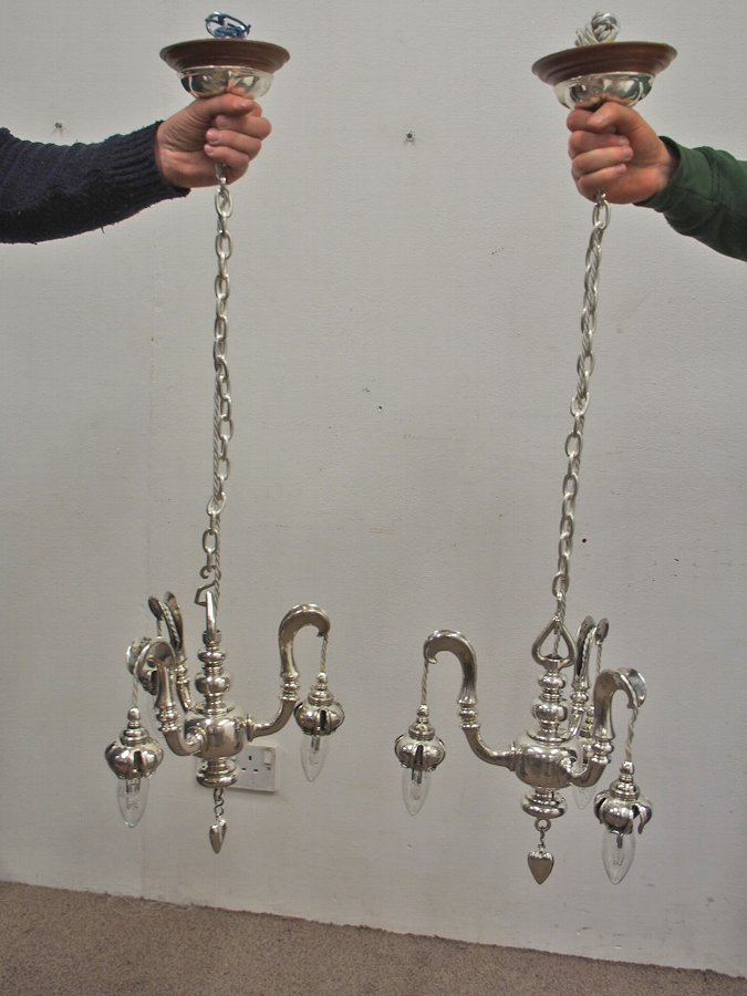 Antique  Pair of Silvered Lights by Sir Robert Lorimer