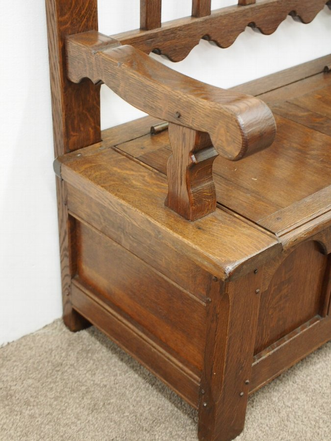 Antique Edwardian Oak Hall Bench
