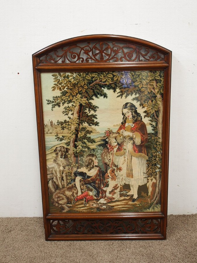 Antique Victorian Walnut Framed Needlepoint