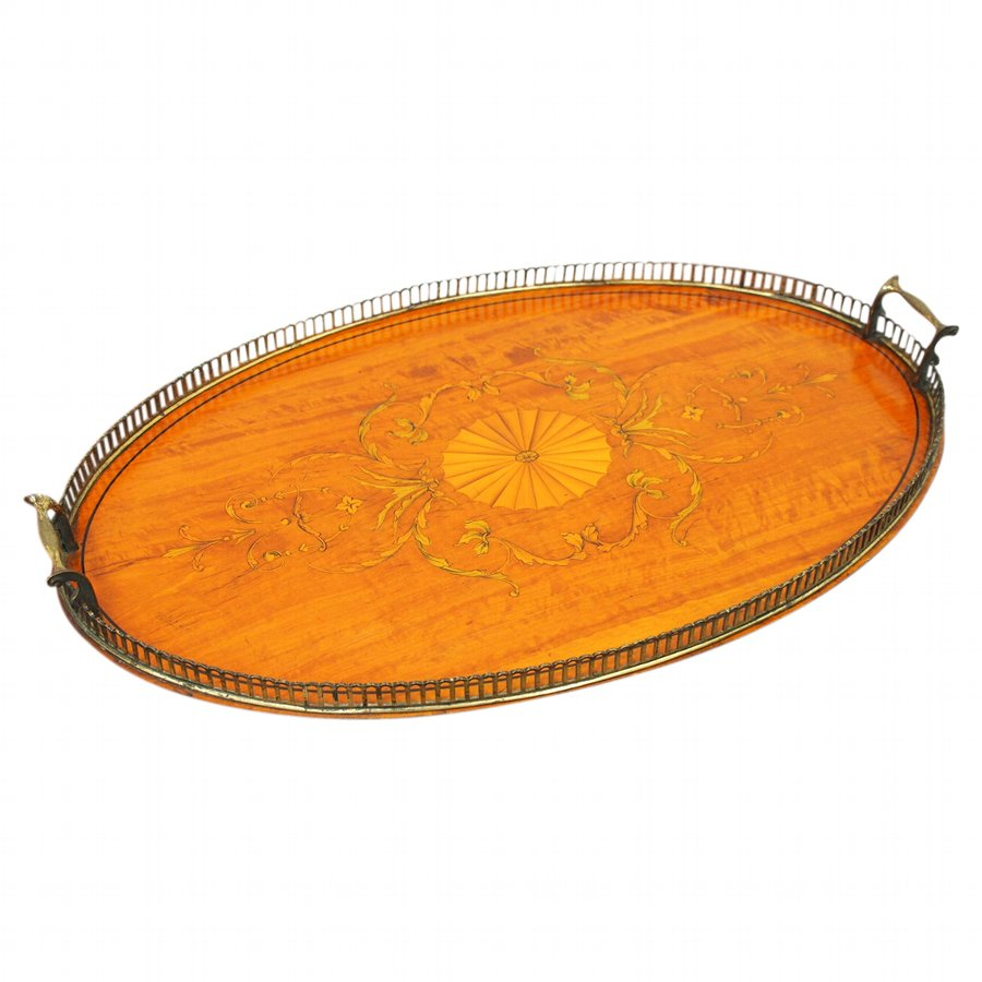 Edwardian Satinwood, Inlaid and Brass Tray