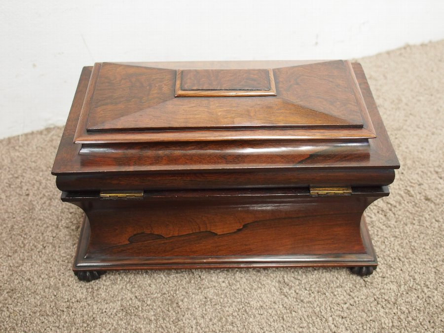 Antique Late George IV Rosewood Sarcophagus Tea Caddy