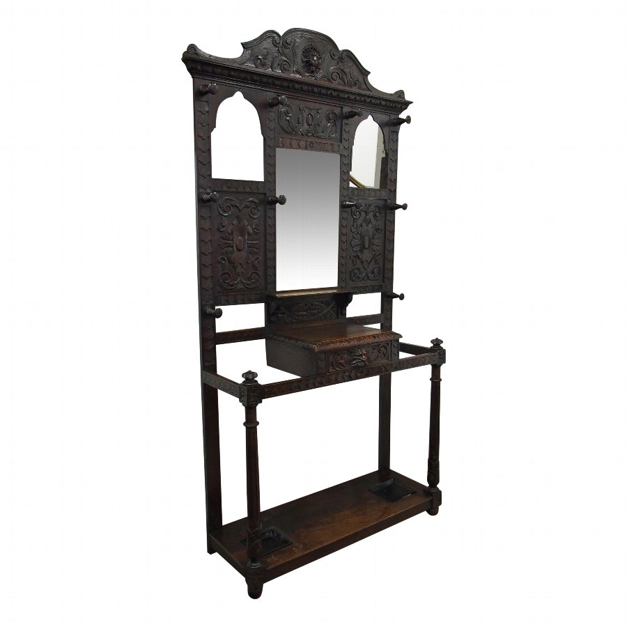 Carved Oak Mirror Back Hall Stand