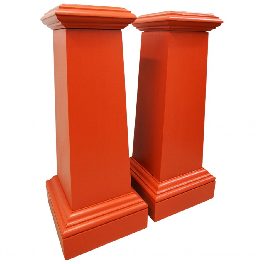 Pair of Red Painted Pine Pedestals