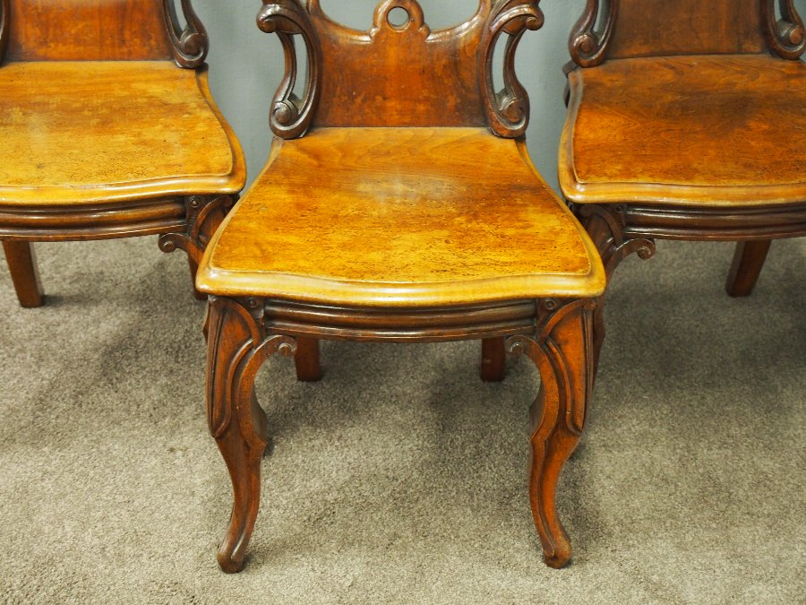 Antique Set of 3 Victorian Mahogany Heraldic Hall Chairs