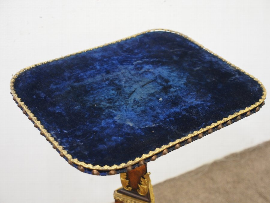 Antique Victorian Kingwood and Blue Velvet Occasional Table