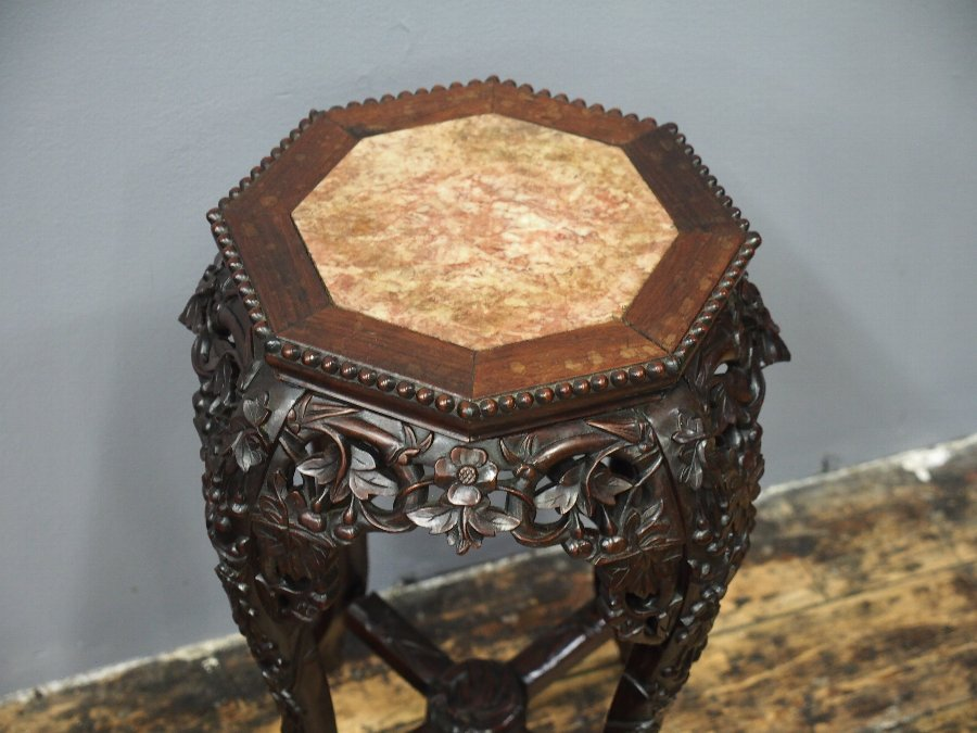 Antique Huanghuali Marble Top Plant Stand