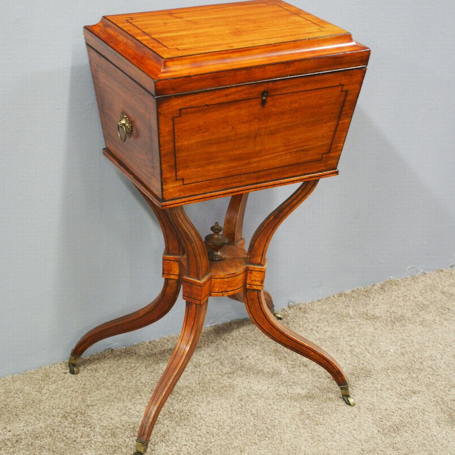 Regency Mahogany and Inlaid Teapoy