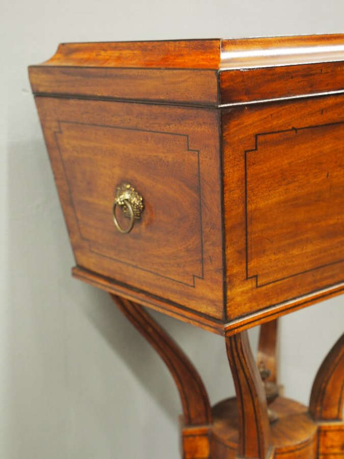 Antique Regency Mahogany and Inlaid Teapoy