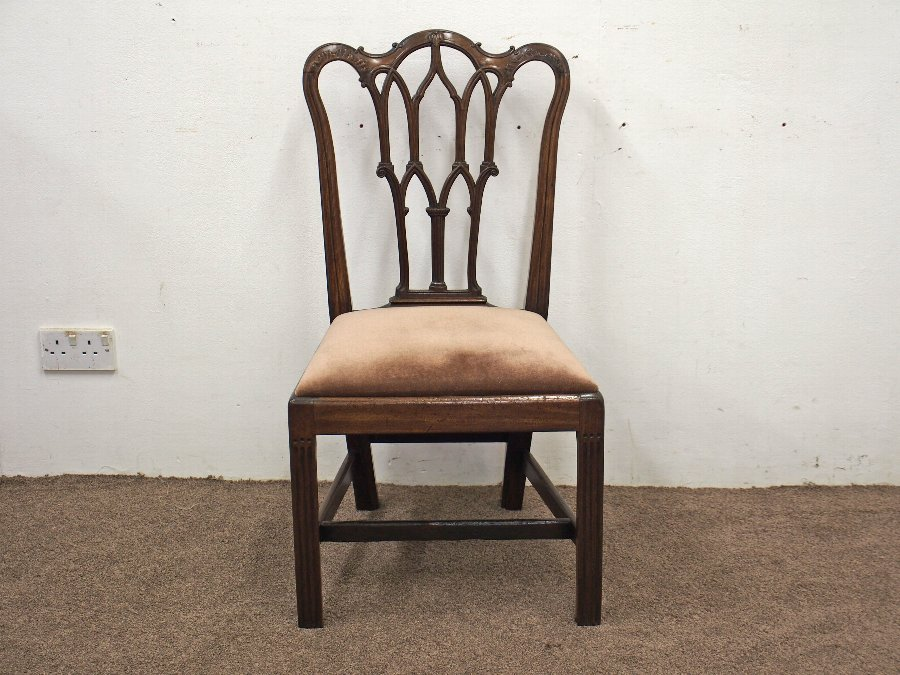 Antique George III Gothic Style Mahogany Side Chair